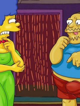 Los simpsons marge homero y el tipo de las historietas